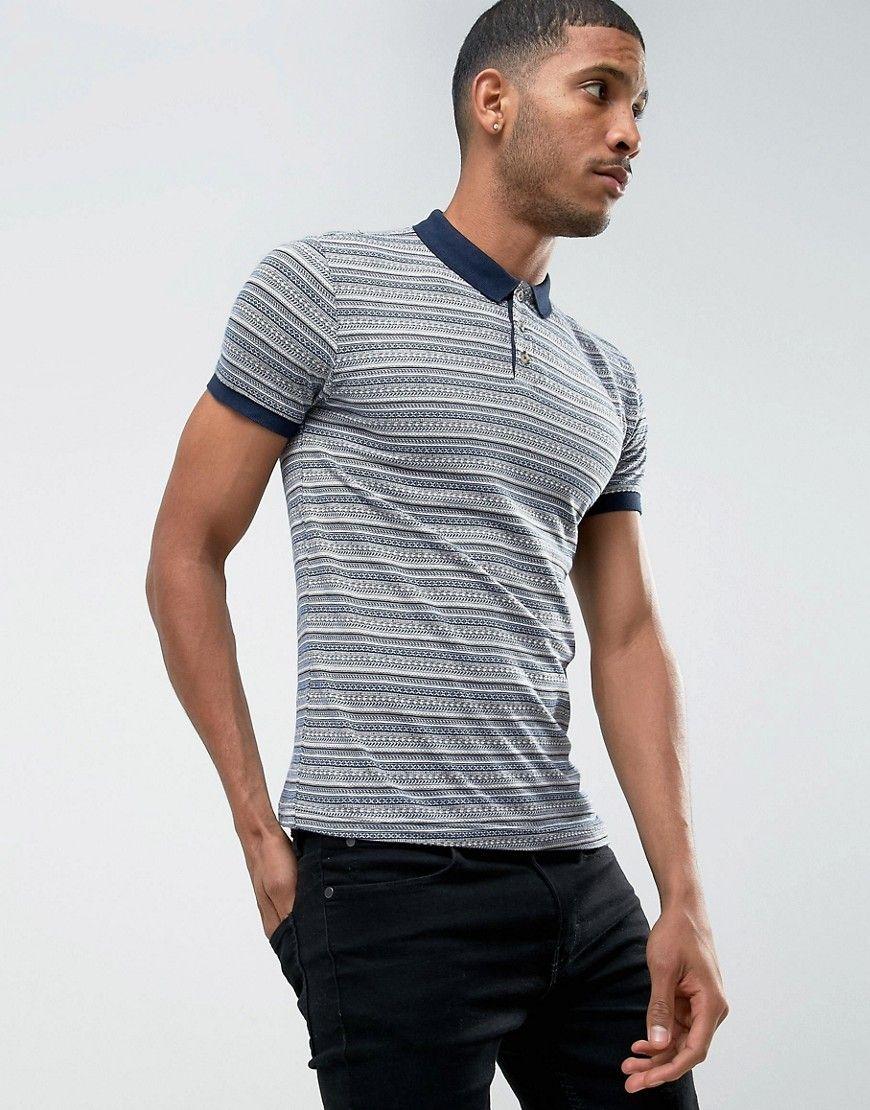 ec5fdc5105ee D-Struct Striped Jacquard Polo Shirt - Navy   polo tshirt   Polo ...