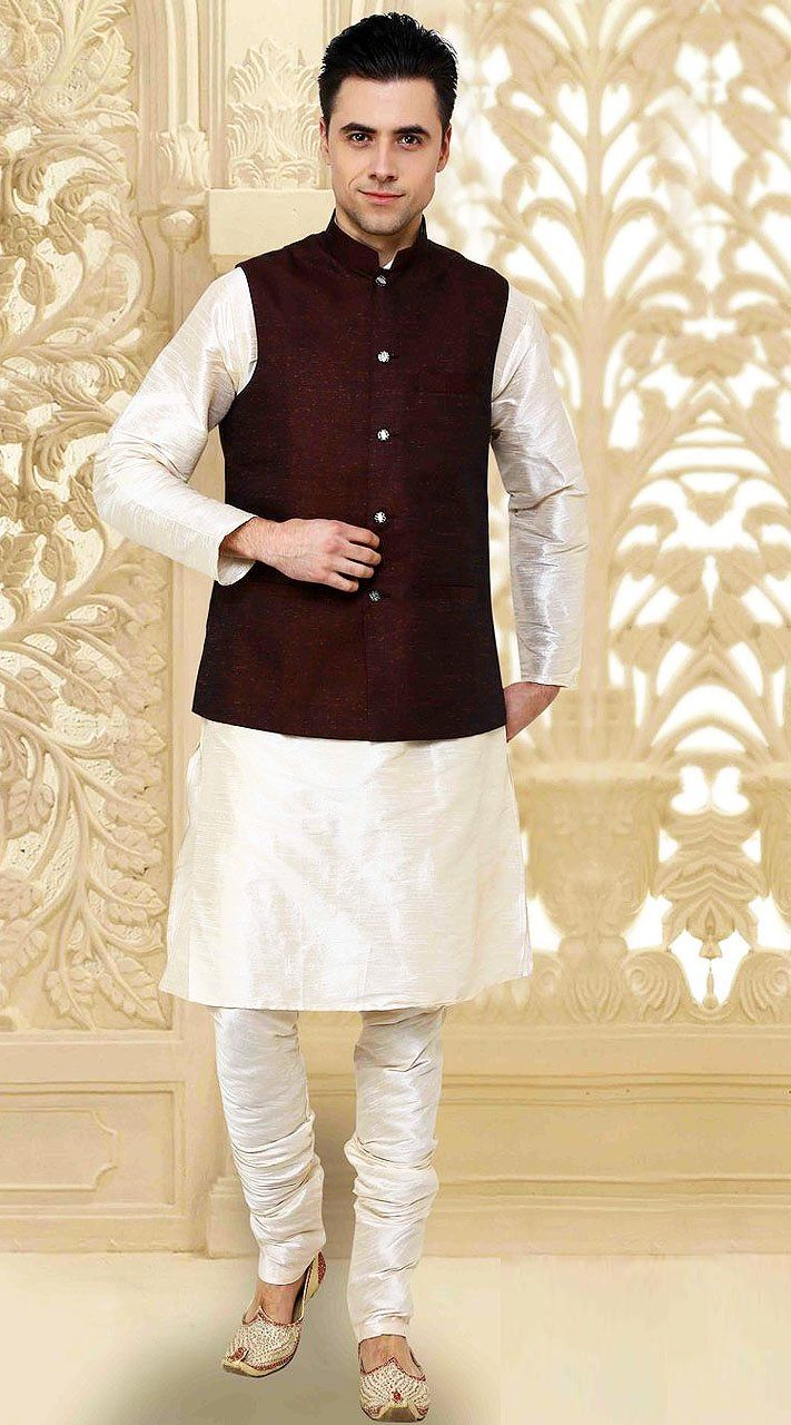 da7f01cf380 Imposing Off White Kurta With Cotton Flex Jacket Nehru Waist Coat ...