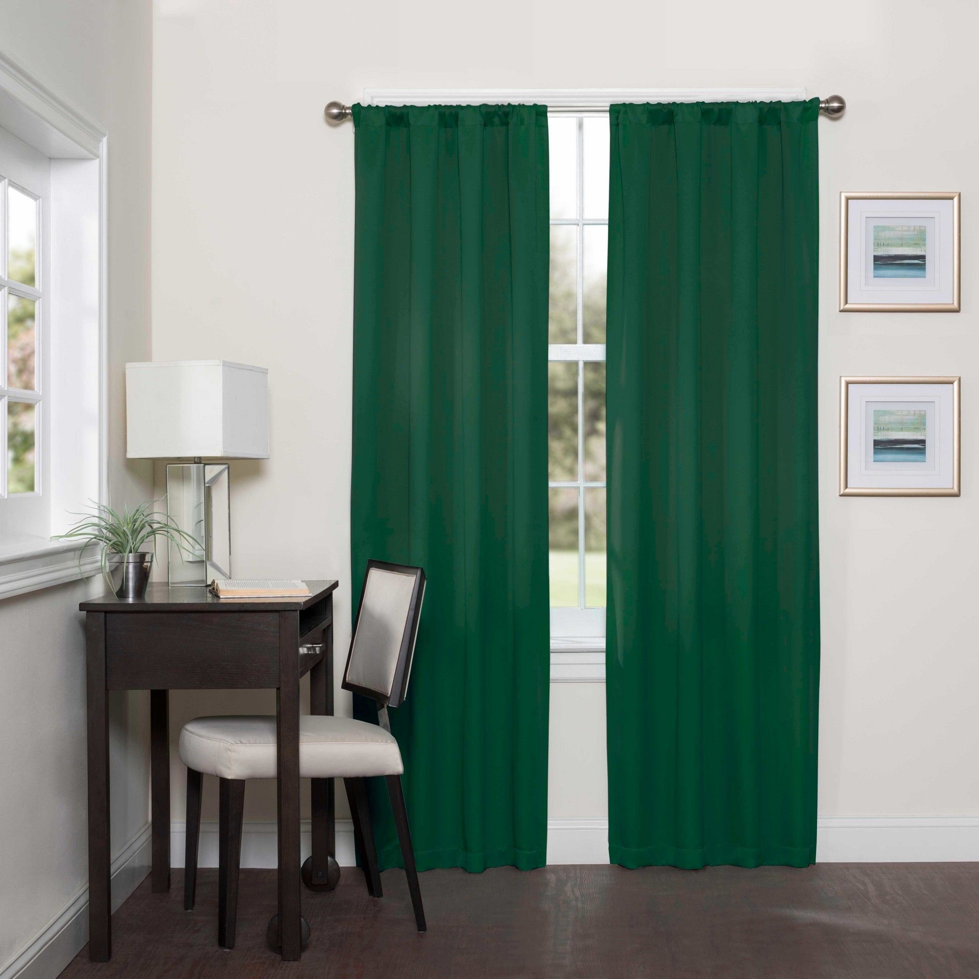 Darrell Thermaweave Blackout Curtain Panels Emerald 63 Eclipse