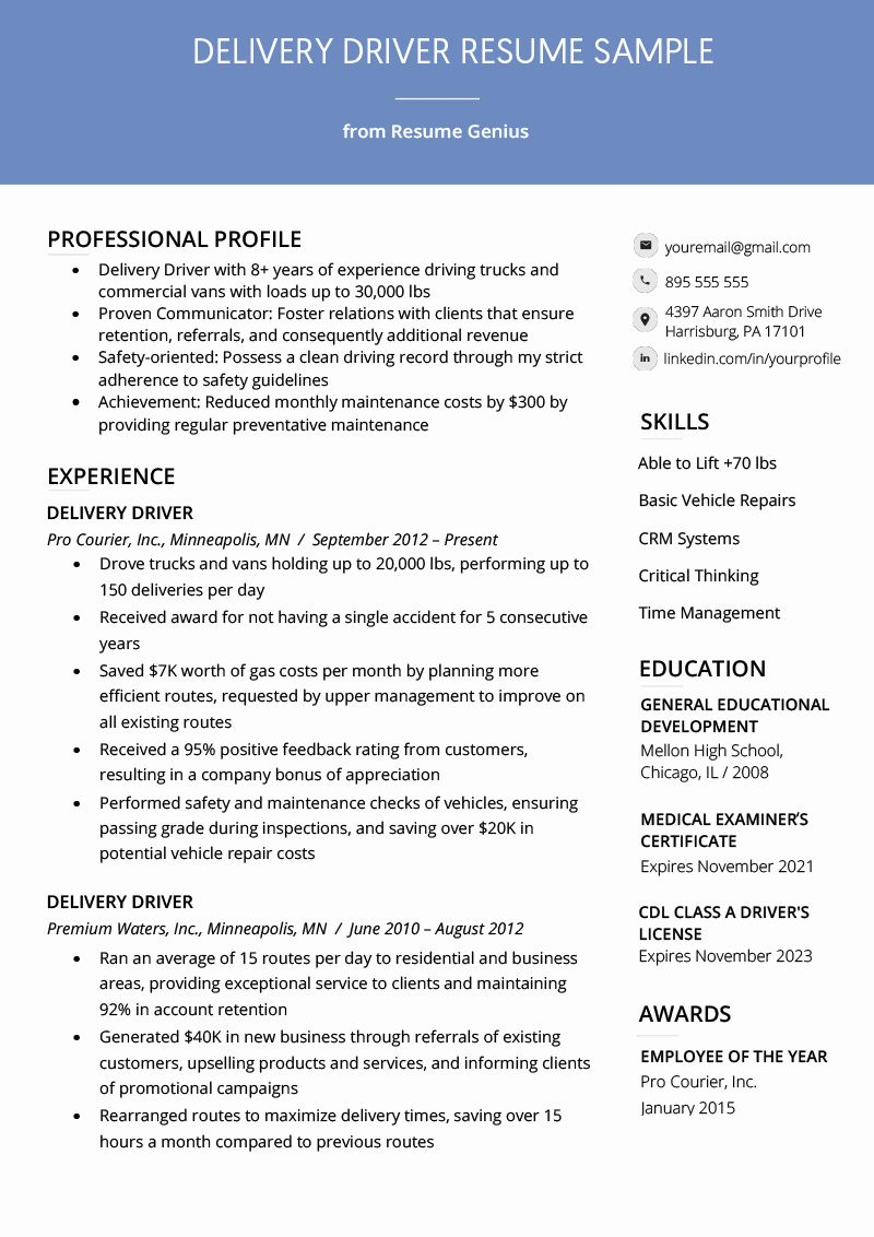 40 Truck Driver Resume Sample in 2020 Resume examples