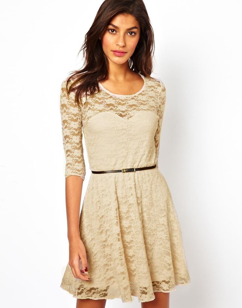 Asos Skater Dress in Lace with 3/4 Length Sleeves (Mink) UK Size:8 ...