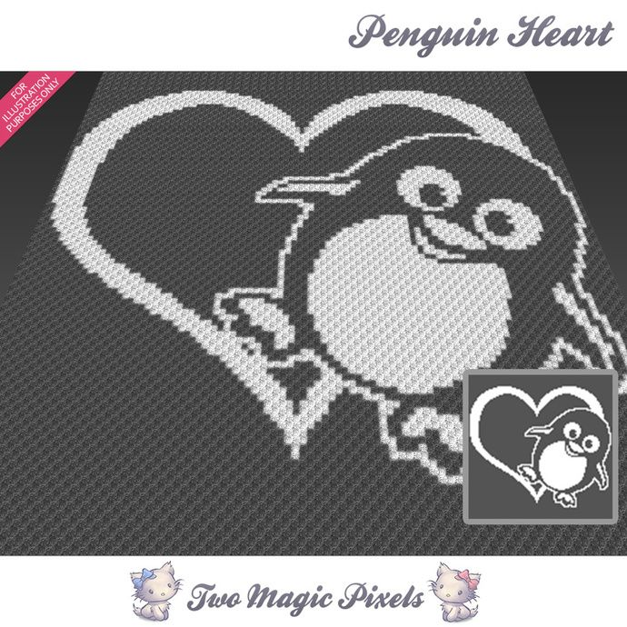 Penguin Heart crochet blanket pattern