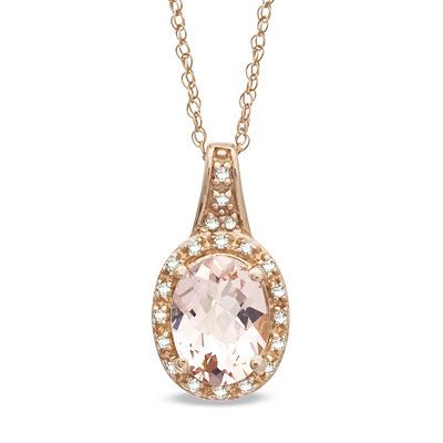 Oval Morganite And Diamond Accent Pendant In 10k Rose Gold