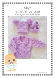 Baby girl designer knitting pattern /'Cariad/' 0-3mths *Free postage*