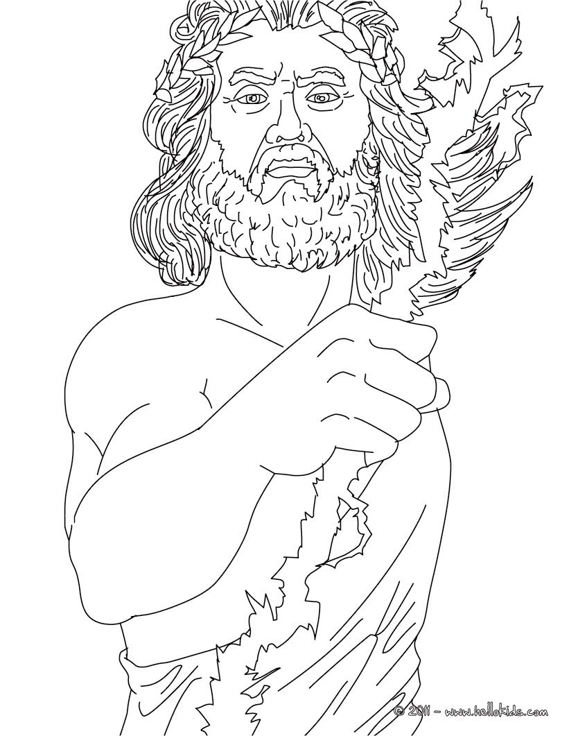 Greek Gods Coloring Pages Zeus The Greek King Of The Gods People Coloring Pages Coloring Pages Greek Mythology Art