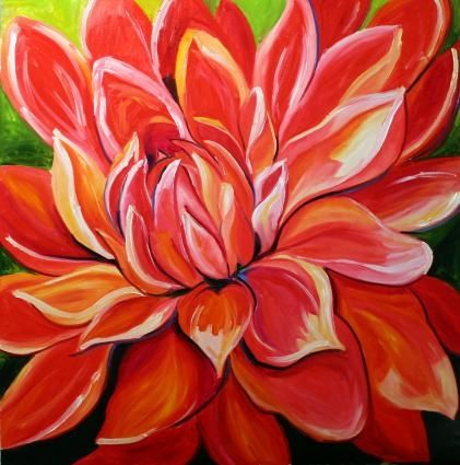 Dahlia Red Flower Art Laurie Justus Pace