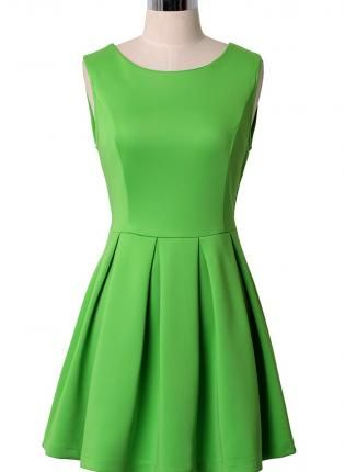 a978b62ad633 Neon Green Sleeveless Skater Dress with Pleated Skirt