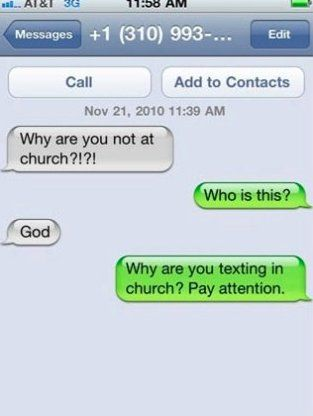 iPhone SMS Text Message from God Funny texts, Funny