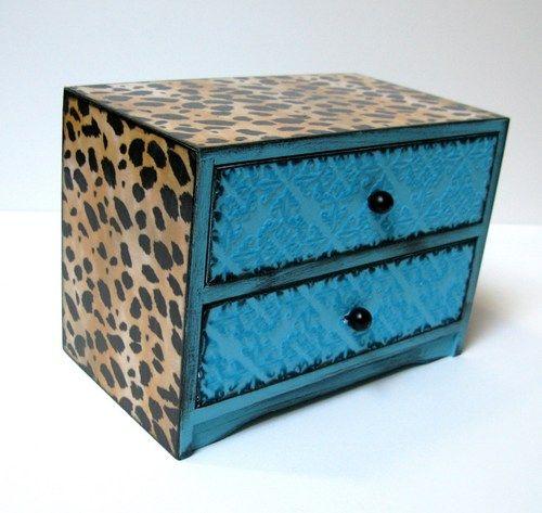 Leopard and Aqua Treasure Trinket Jewelry Box   sisterbutterfly - Woodworking on ArtFire