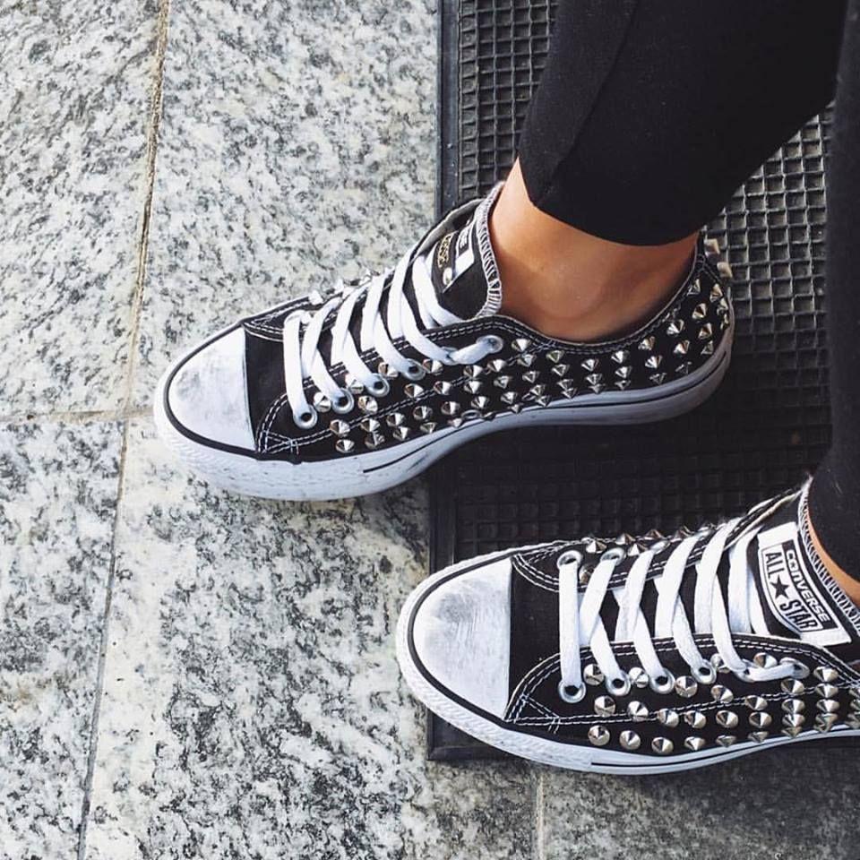 scarpe converse donna platform borchie