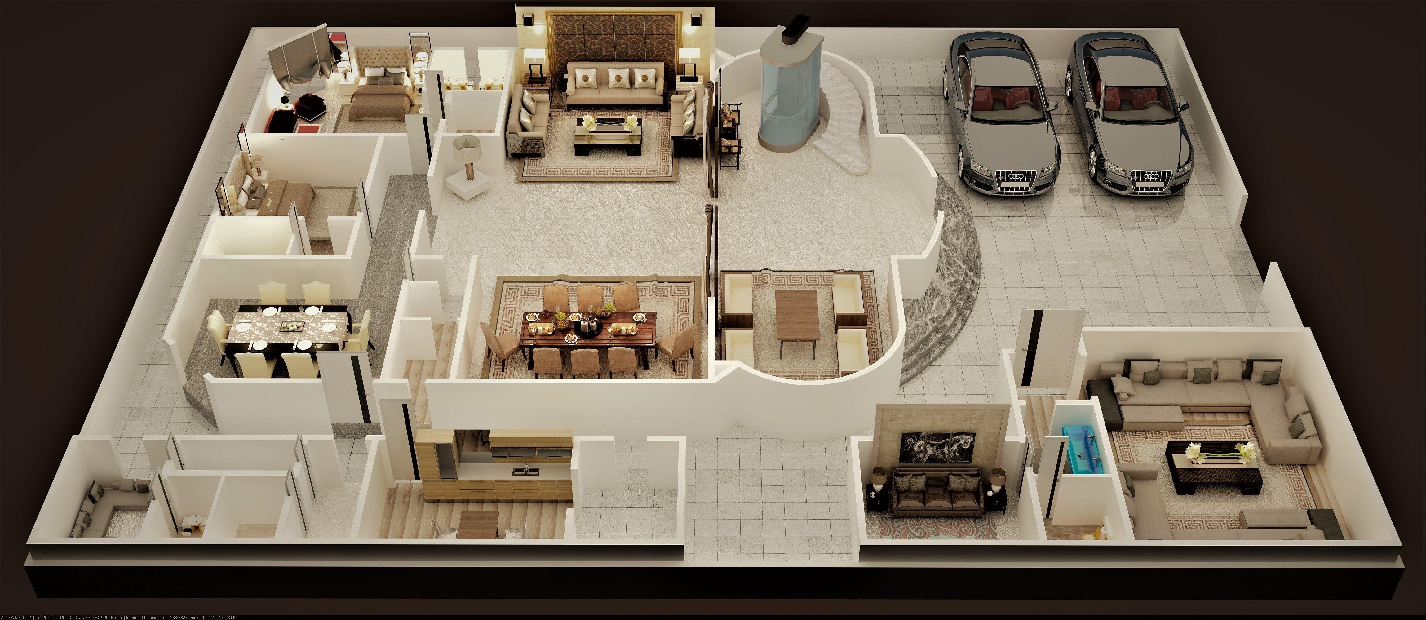 3d Floor Plan Of Luxury House Ground Foor 3d Cgtrader Luxury Plan Rendered Floor Plan Floor Plans