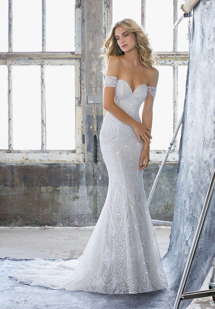 Morilee 8222 Karissa Off the Shoulder Art Deco Wedding Dress | Art ...