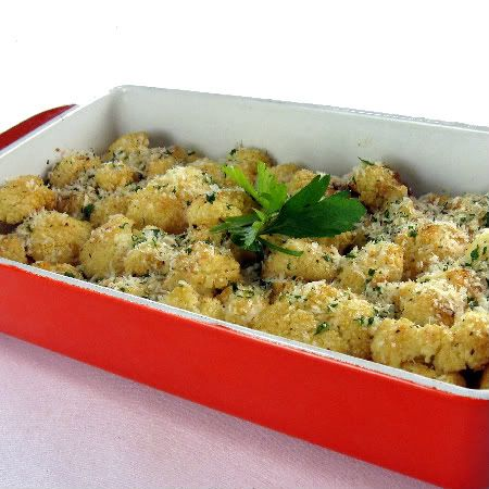 Oven roasted cauliflower with garlic and parmesean