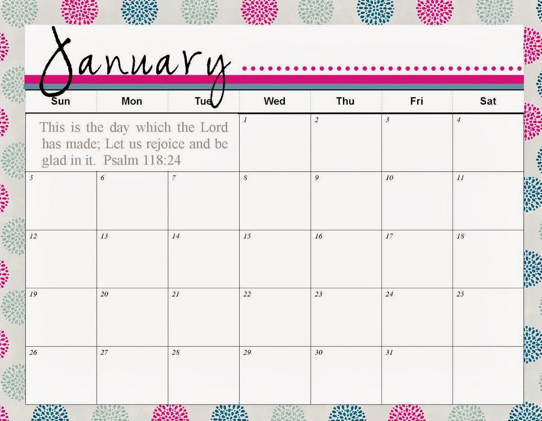 January Calendar Printable Template 3