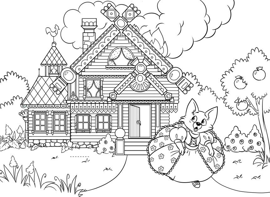 Kartinka Skazochnogo Domika Raskraska Coloring Pages Color Cartoon