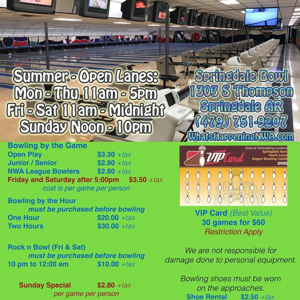Want To Do Something Fun And Inexpensive There Are Open Bowling Lanes Available This Summer Springdale Bowling Springdale Bowling Center Happy Hour Specials