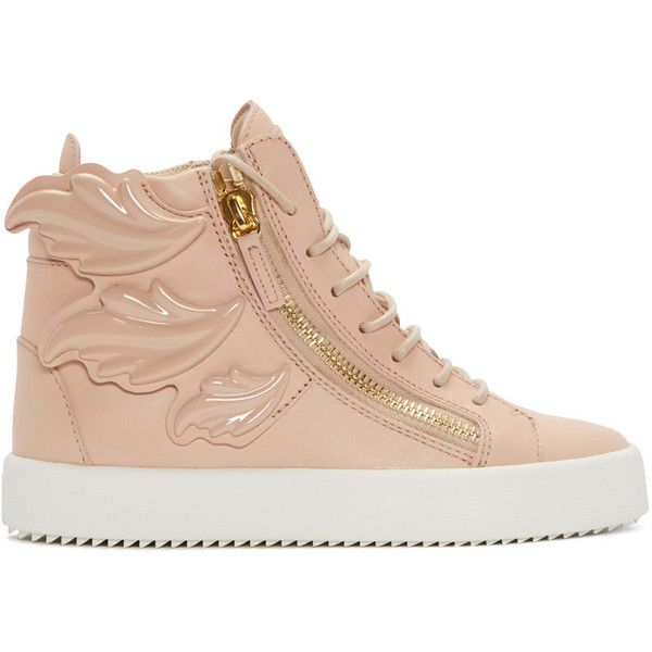 Giuseppe Zanotti Pink Leather Wings London High-Top Sneakers (9 935 SEK) ❤ liked on Polyvore featuring shoes, sneakers, leather lace up sneakers, lace up shoes, leather high tops, pink shoes and high top shoes