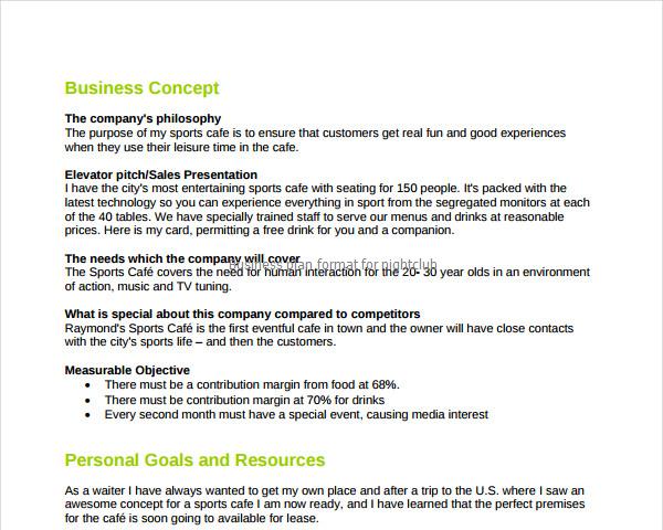 Business Plan Format For Nightclub