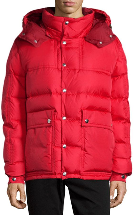 8ff50652d Moncler Brel Puffer Jacket with Removable Hood, Red   Men's fashion ...