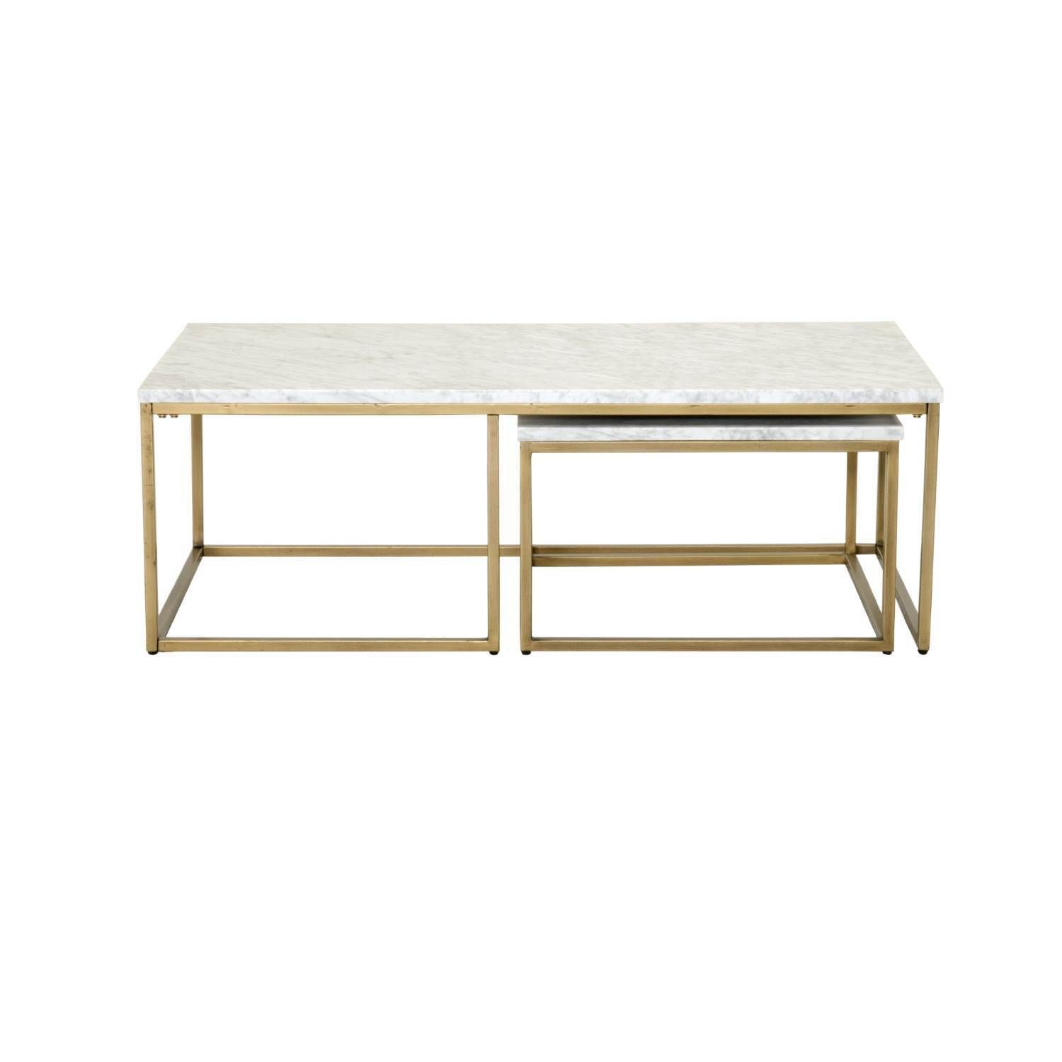 Gray Manor Autumn Goldtone And White Finished Wood Marble Nesting Coffee Table Brushed Gold