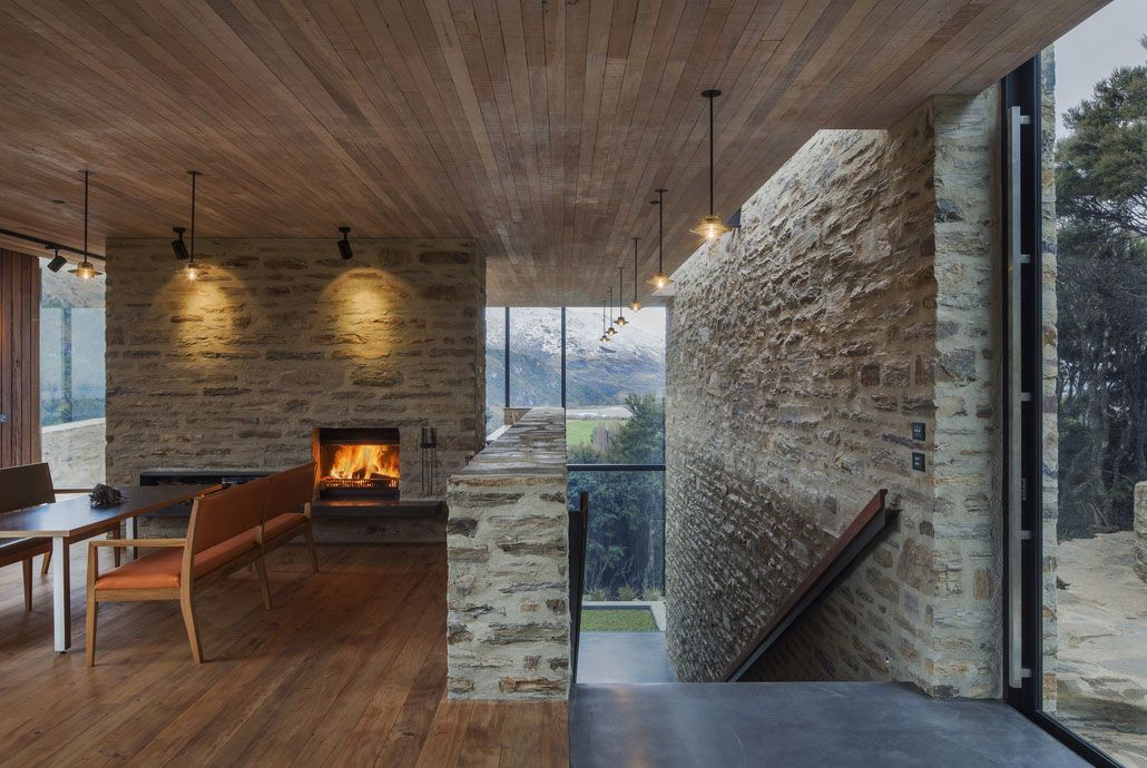 Modern interior design that uses brick and wood modern - Stone house designs and floor plans ...