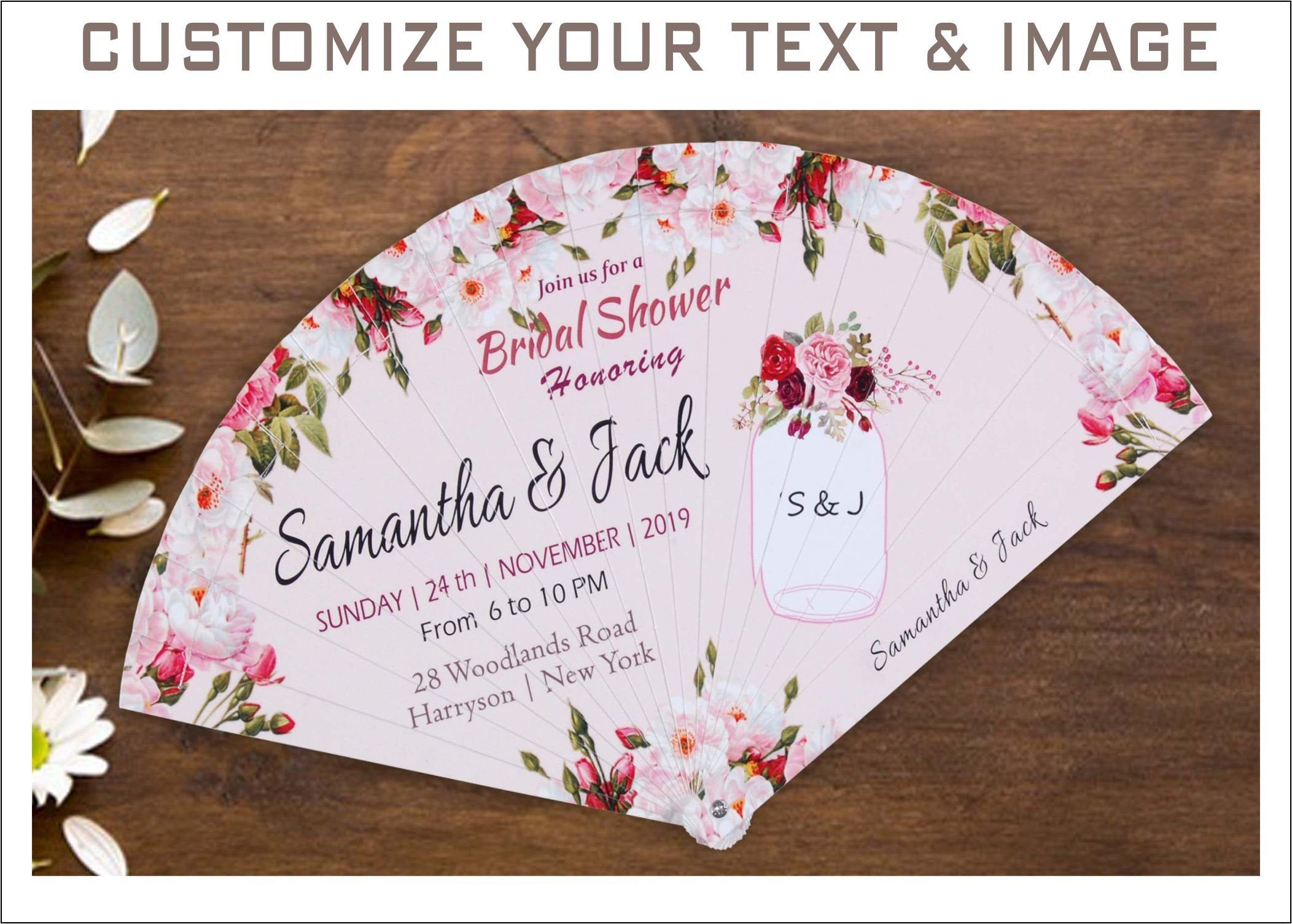 Personalised Hand Fan Pack of 10 Print Customised Wedding Favour Party Favor