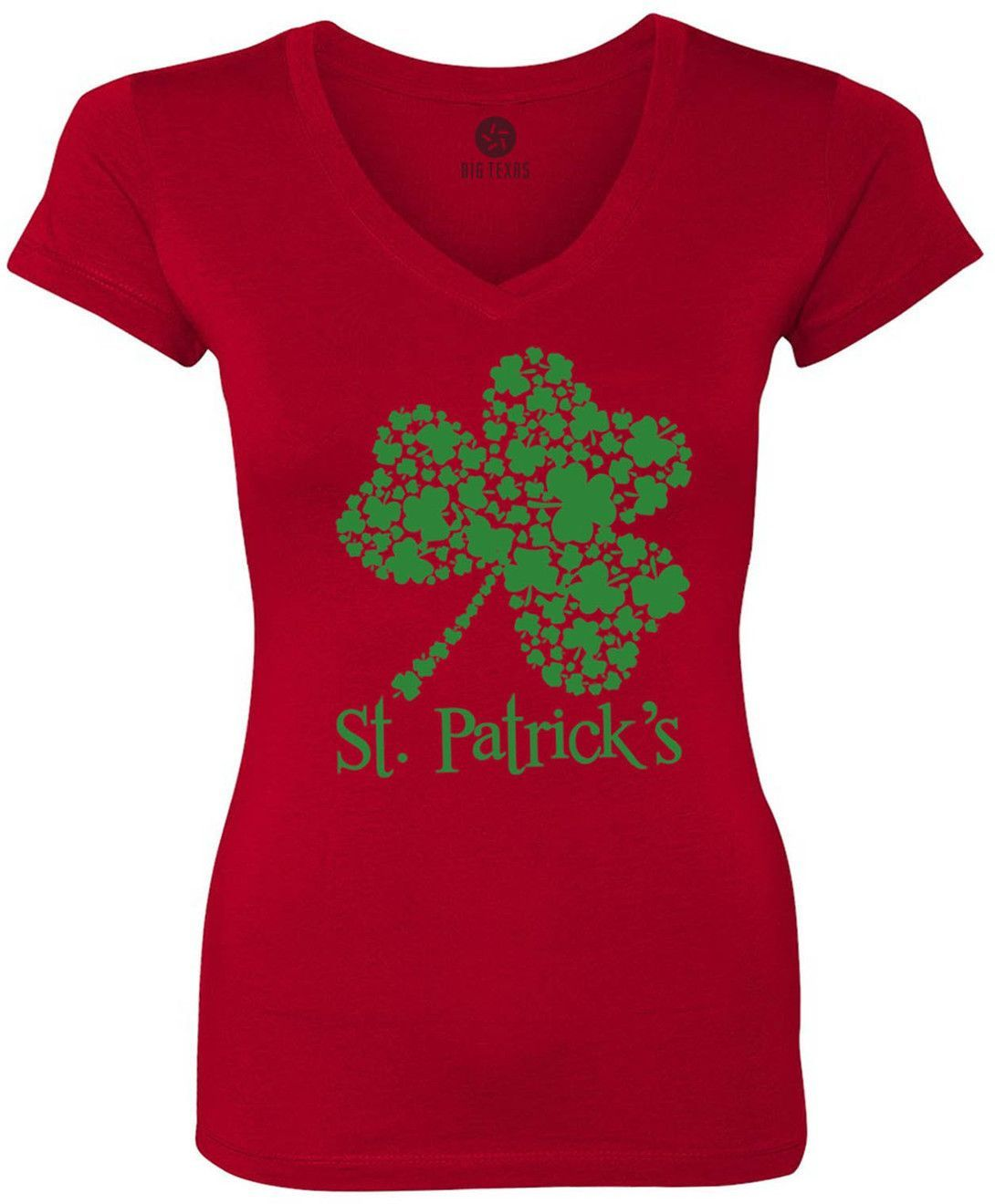 St. Patricks Day Clover (Green) Women's Short-Sleeve V-Neck T-Shirt