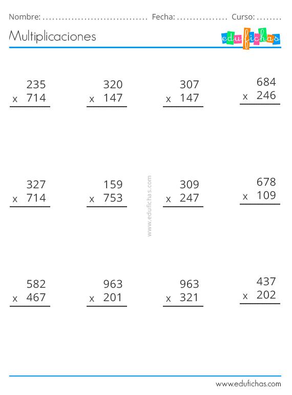 Multiplicaciones Ejercicios Para Multiplicar Por Dos Y Tres Cifras Pdf Multiplicacion Problemas De Multiplicaciones Lectura De Palabras