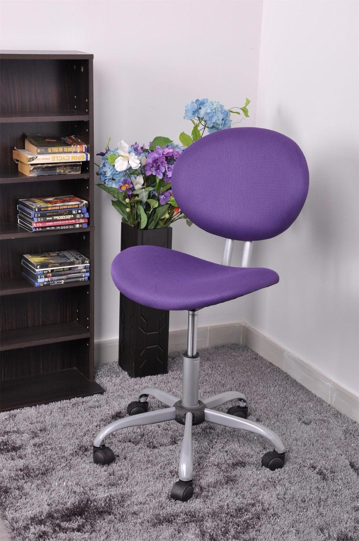 Swivel Office Chair Purple Dual Wheel Tilt Control Gas