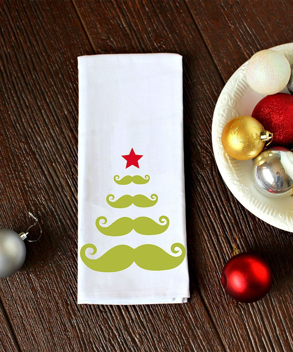 This Green Mustache Christmas Tree Towel by Love you a Latte is perfect! #zulilyfinds