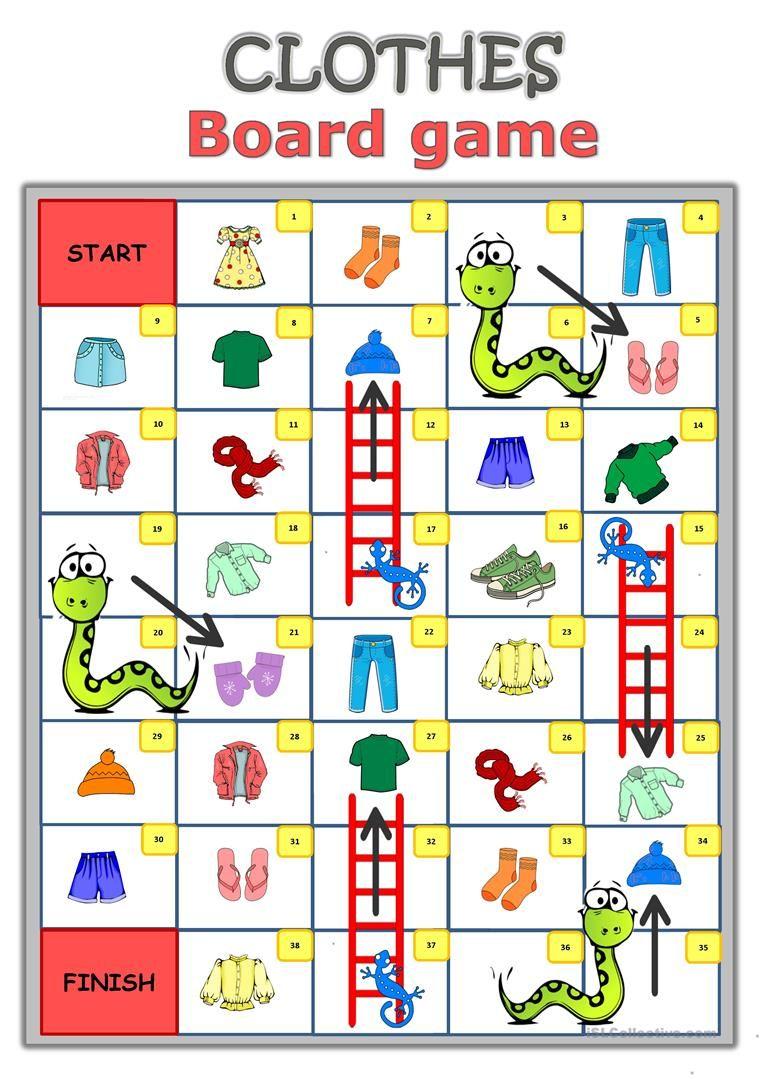 Clothes Board game worksheet Free ESL printable