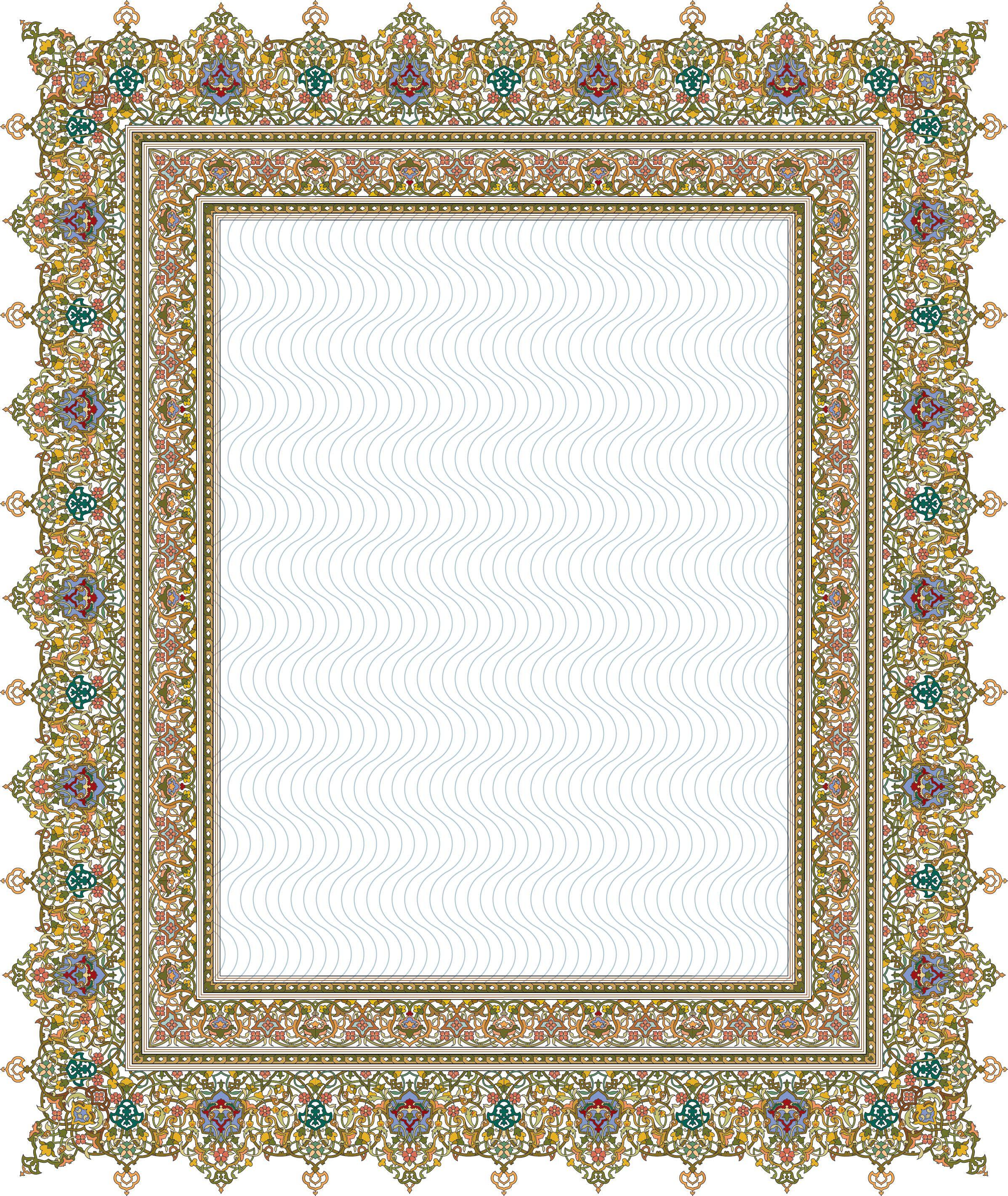 84Floral Pattern (Khatai) Ornamen, Desain, Bingkai