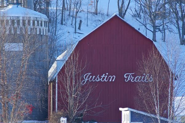 The Barn at Justin Trails Resort. Open all year, we invite you to stay with us anytime.. www.justintrails.com or 608-269-4522. Near Sparta, Wisconsin. 200 acres in private valley with meadows, steep hills, woodland and over 10 miles of groomed trails.