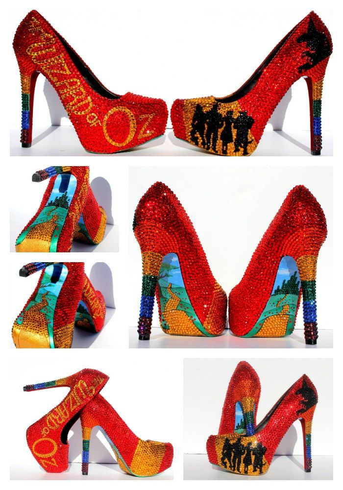 8d23b36a0 Wizard of Oz Inspired Hand-Painted Crystal Shoes – Dorothy, Rainbow – Ruby  Red