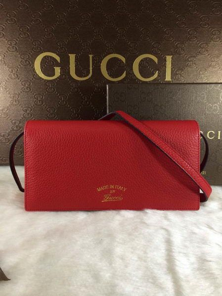 c5d70100e62 Gucci Swing Leather Wallet With Strap 368231 Red -  199.00