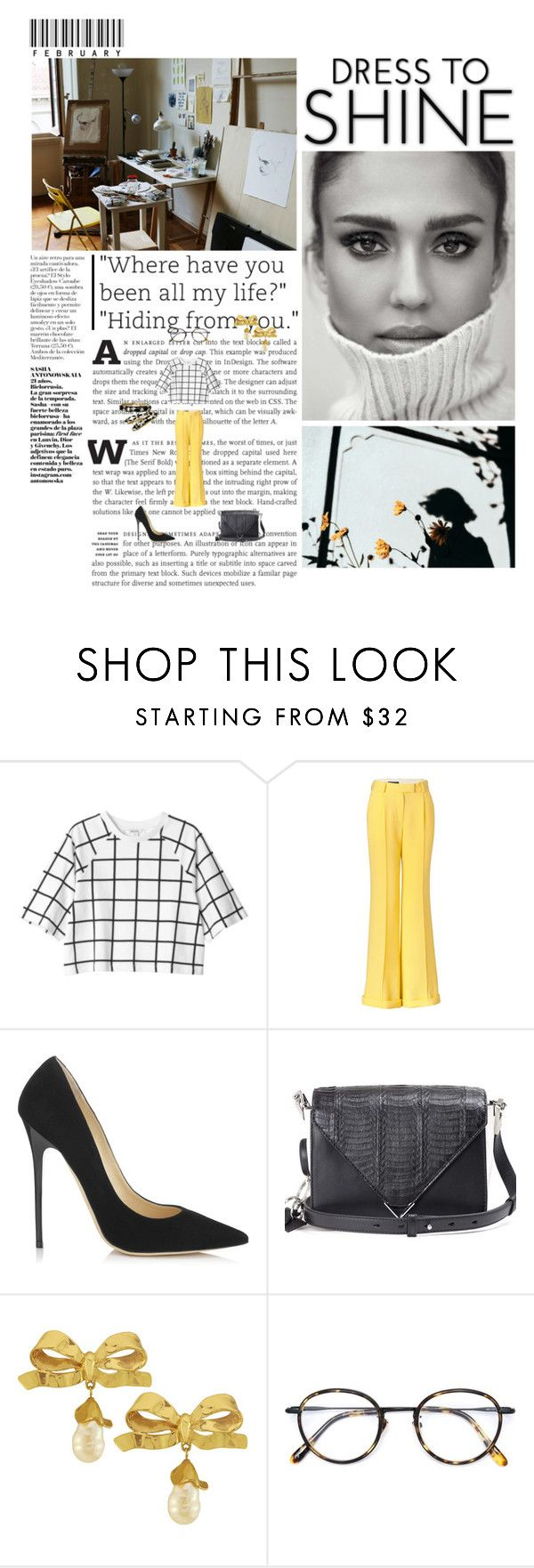 """Where have you been all my life?"" ""Hiding from you."" by miky94 ❤ liked on Polyvore featuring Monki, FAUSTO PUGLISI, Jimmy Choo, Alexander Wang, Vintage and Frency & Mercury"
