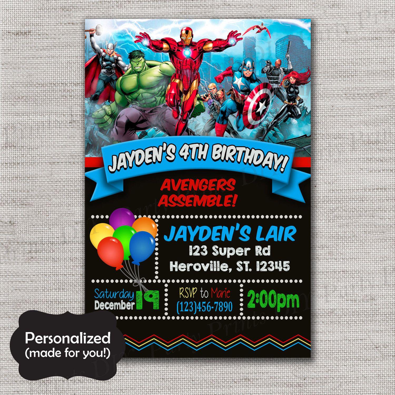 Avengers Birthday invite,Avengers invite,JPG file,Invite,Birthday ...