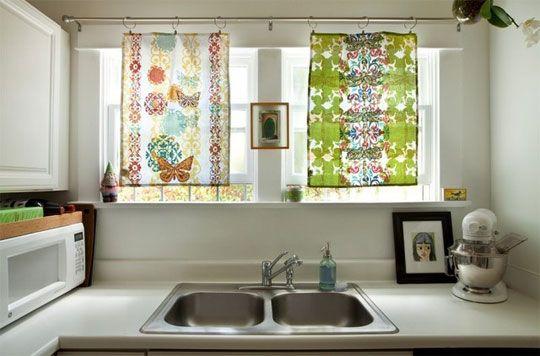 Tea Towels As Curtains Bright And Simple Kitchen Window Treatments Modern Kitchen Window Diy Kitchen Decor