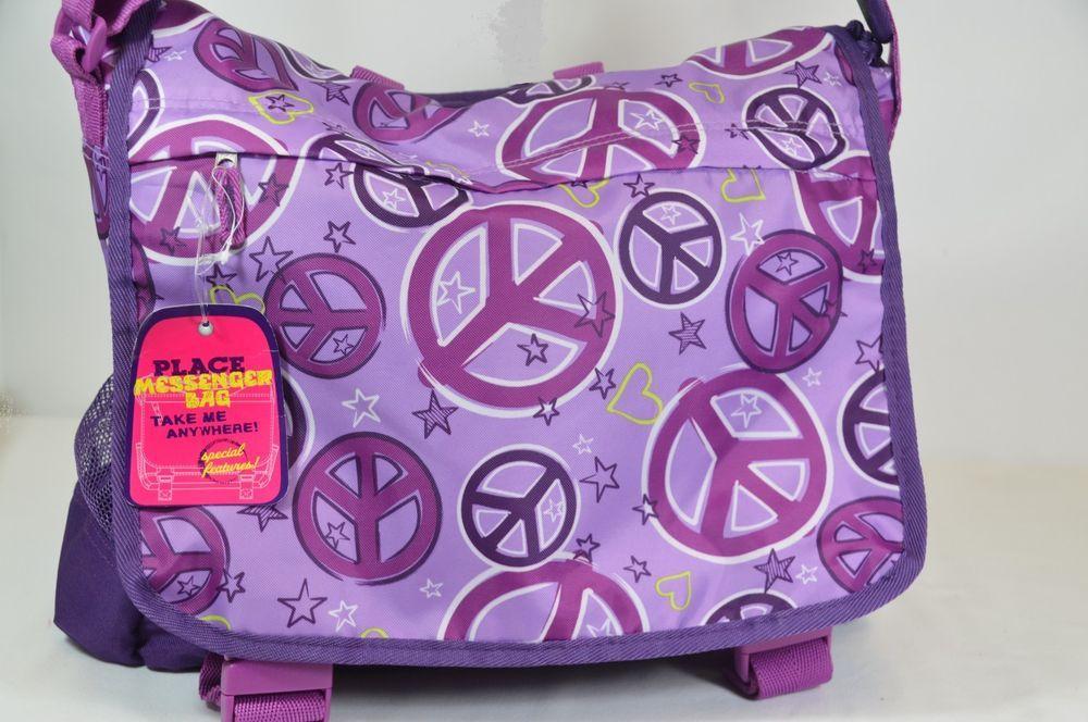 NEW CHILDREN'S PLACE GIRL'S PURPLE PEACE SYMBOL DETAIL  MESSENGER BAG ON SALE   #CHILDRENSPLACE$28