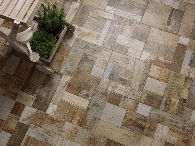 Effet patchwork pour ce carrelage de terrasse Terrasse Pinterest - carrelage terrasse exterieur imitation bois
