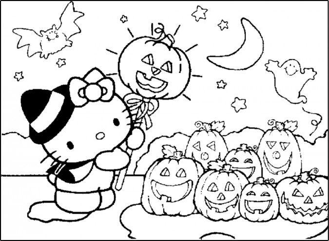 Dibujos para colorear Hello Kitty Halloween  Huerto de calabazas