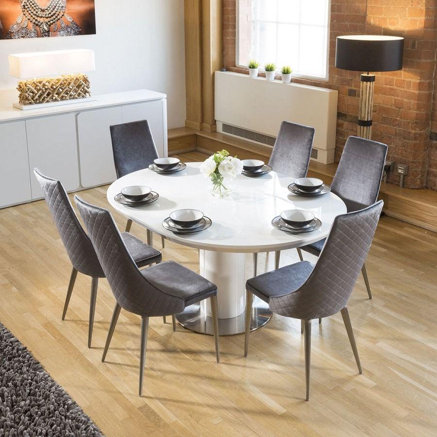 Extending Round Oval Dining Set White Gloss Table 6 Grey Velvet