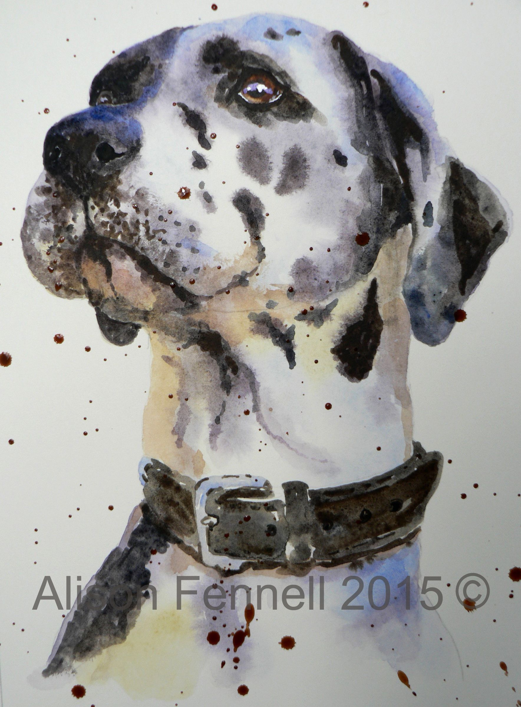 Painting Dogs In Watercolour Great Dane Tutorial Watercolor
