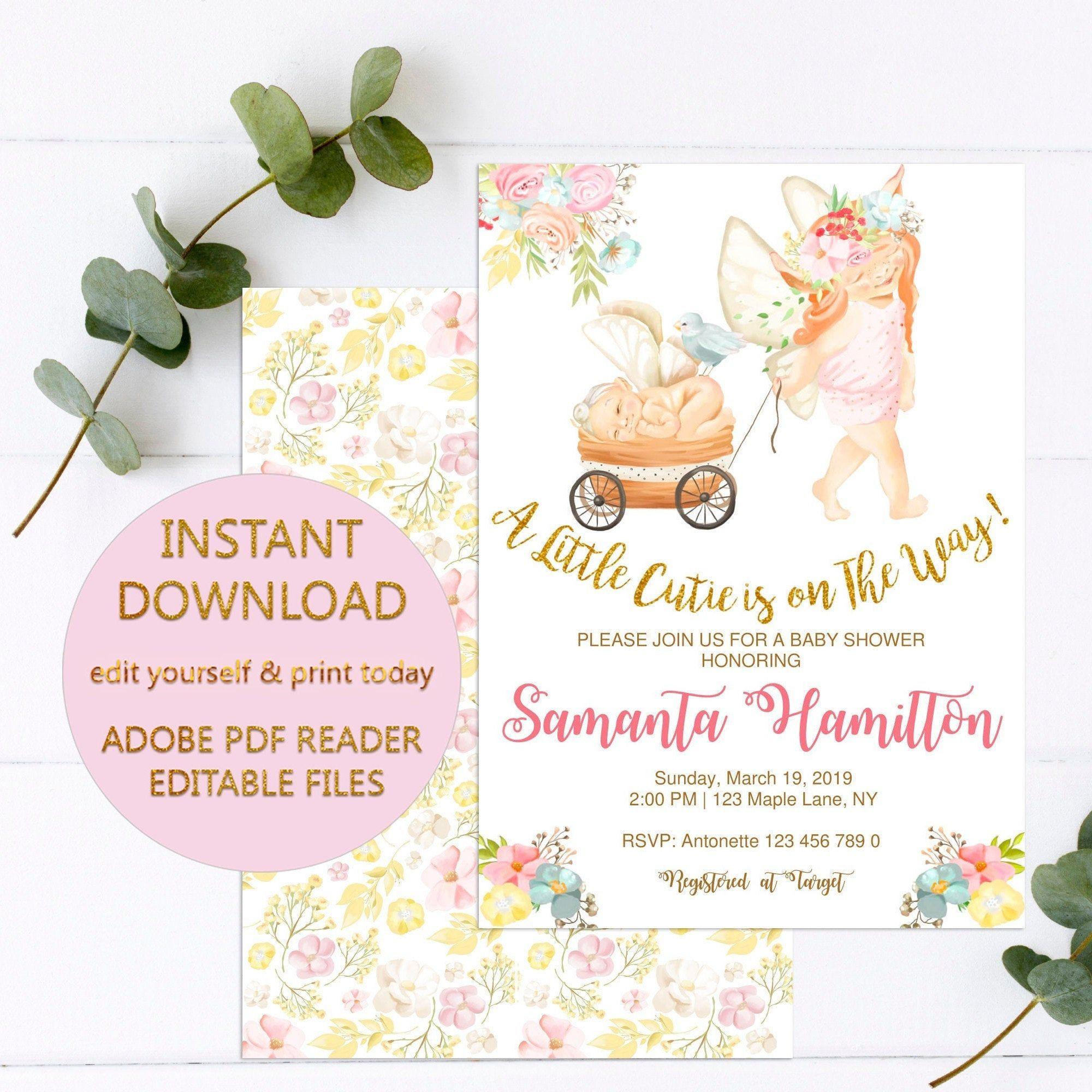 A Little Cutie is on The Way Fairy Baby Shower Invitation