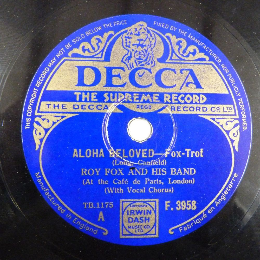 78rpm ROY FOX Aloha Beloved / Little Dutch Mill, DECCA F 3958