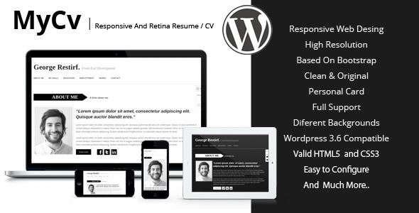 my cv responsive and retina wordpress theme cv