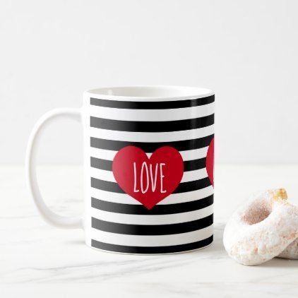 stylish design ideas unique coffee cups. Simple love hearts and stripes coffee mug  chic design idea diy elegant beautiful stylish modern exclusive trendy script gifts template