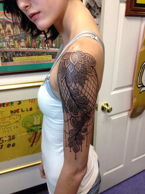 55 delicate lace tattoo designs for every kind of girl lace tattoo paisley lace tattoo and. Black Bedroom Furniture Sets. Home Design Ideas
