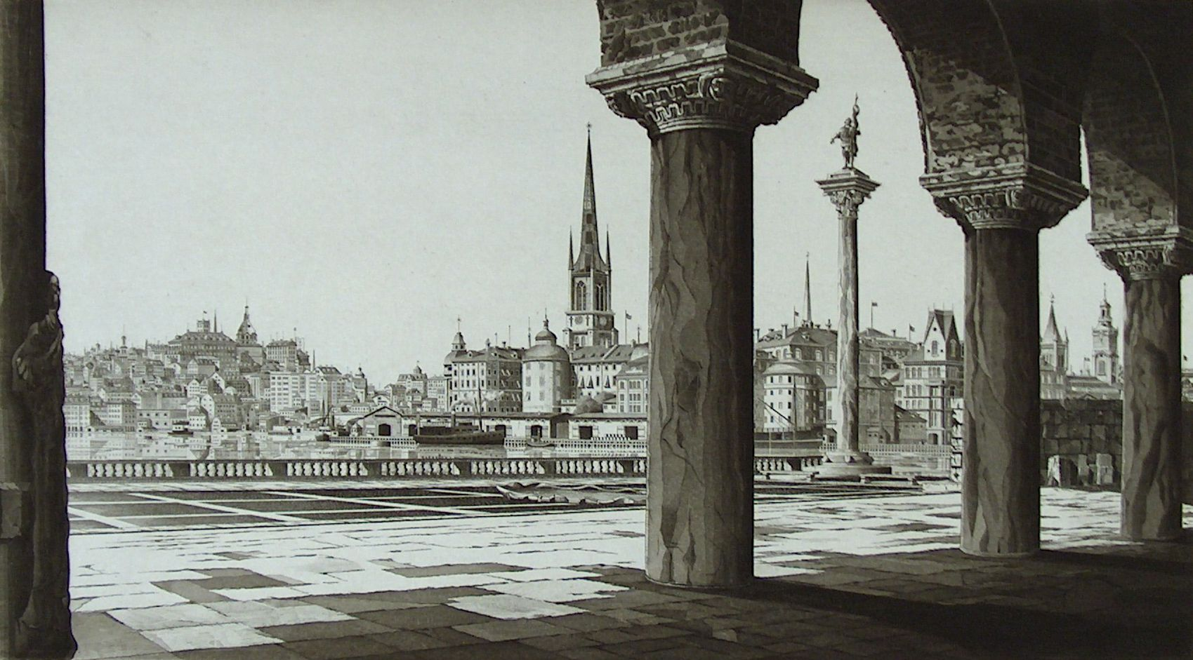 "John Taylor Arms, ""Stockholm,"" 1940. Etching, Gardiner Permanent Art Collection."