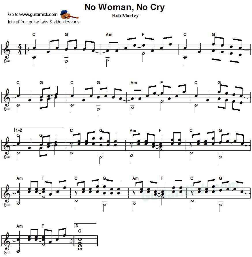 Piano piano tab sheet music : No Woman No Cry - fingerstyle guitar sheet music | Guitar sheet ...